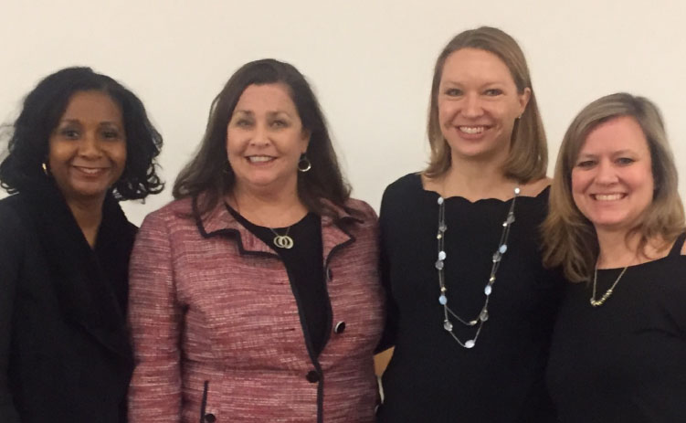 DDR Women of Influence hosted CREW Network CEO Wendy Mann for a leadership session, left to right, Kim Henry, Wendy Mann, April Ehrenbreit and Christa Vesy