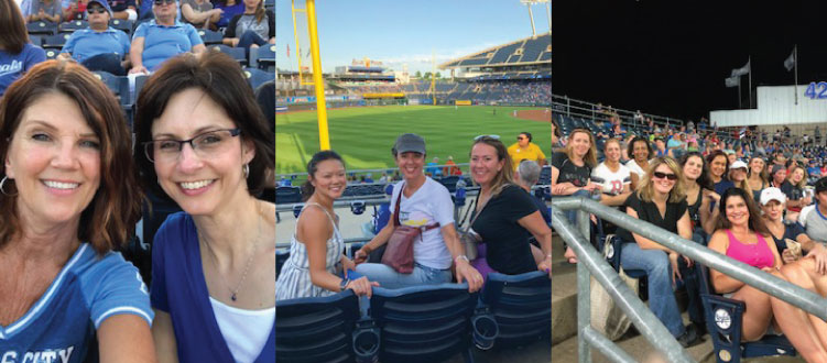 CREW Network members attend a Kansas City Royals baseball game.