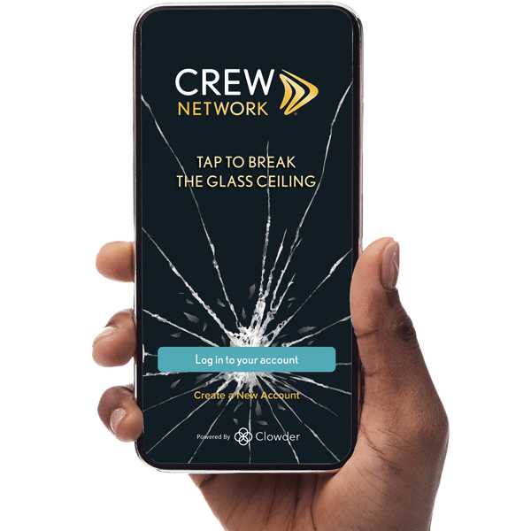 Black woman's hand holding mobile phone with CREW Network app