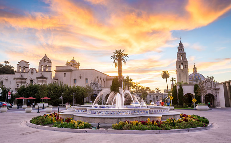 San Diego's Balboa Park at twilight