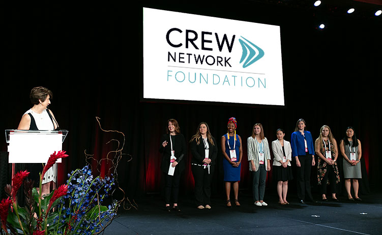CREW Network Foundation scholars on stage at the 2019 CREW Network convention